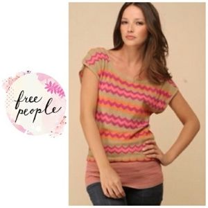 FREE PEOPLE Dolman Chevron Pink Light Sweater